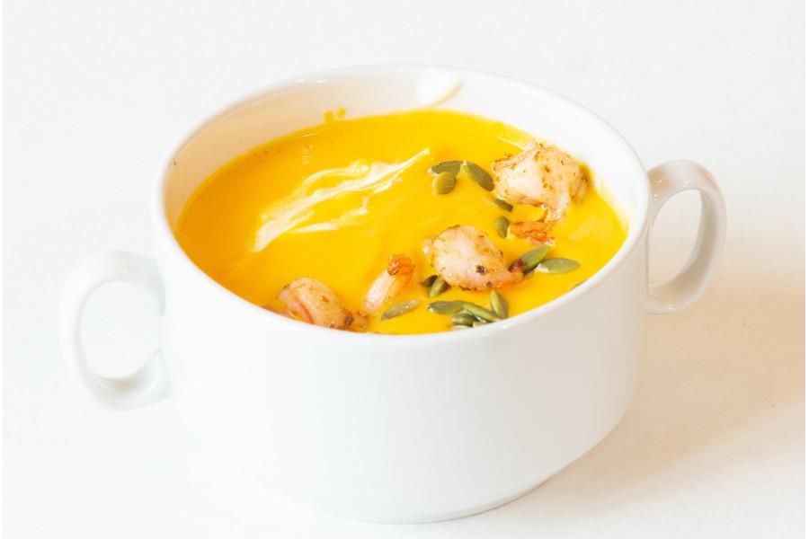 Крем суп из тыквы с креветками